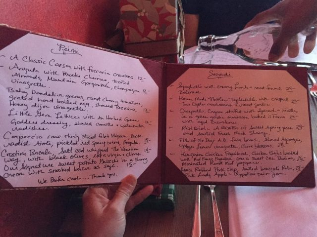 The Hand-Written Menu at Da Flora - Joe Content